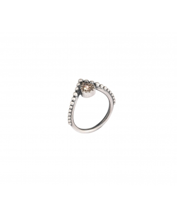 Anillo Sunfield de plata y zirconita marrón. - AN061052